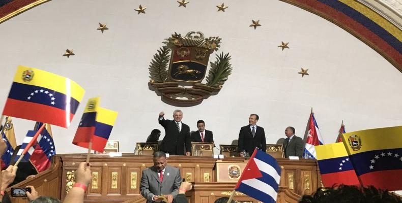 Cuban president addressed to the Venezuelan National Constituent Assembly. Photo: Twitter