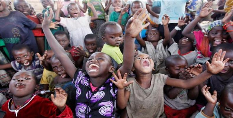 Congolese children displaced by fighting in North Kivu play at the child friendly space (CFS) within Mugunga III camp for the internally displaced people near G