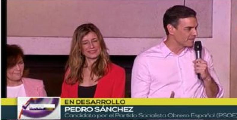 Sánchez habla a sus partidarios