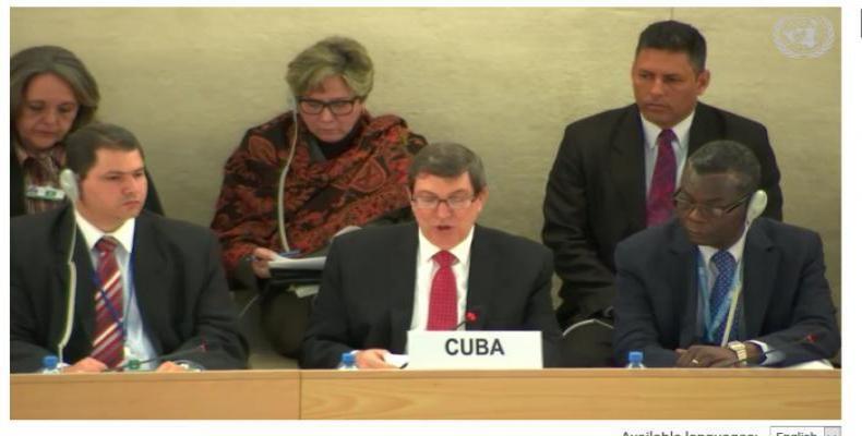Cuban Foreign Minister Bruno Rodriguez Parrilla presents report in Geneva. UN Photo