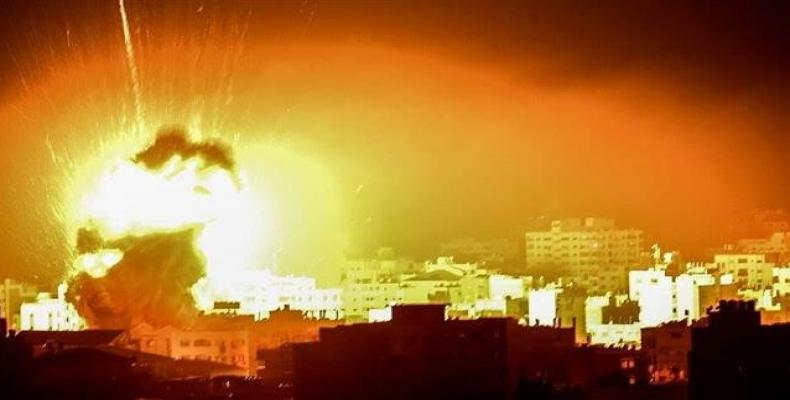 Photo released in the social media shows positions in the Gaza Strip being attacked in the Israeli airstrikes. (Photo: Twitter)