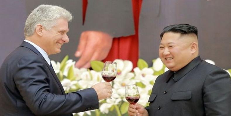 Cuban President Miguel Diaz-Canel meets with North Korean leader Kim Jong-un in Pyongyang Sunday.   Photo: Reuters