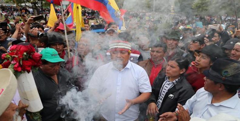 Ecuadorean indigenous leader Jaime Vargas during a protest against President Lenin Moreno's austerity measures. (Photo: Reuters)