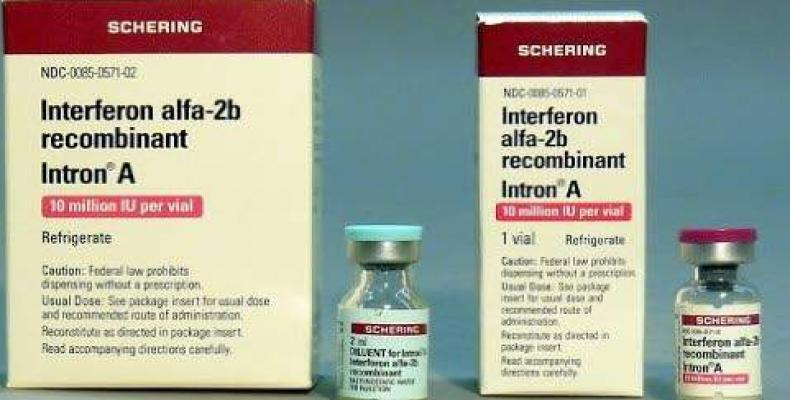 The Cuban pharmaceutical product Interferon Alfa 2B is among the medicines used to treat patients infected with the new coronavirus SARS Cov-2