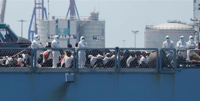 Migrants on navy ship after being rescued by Libyan coast guards in Tripoli, Libya.  Photo: AFP
