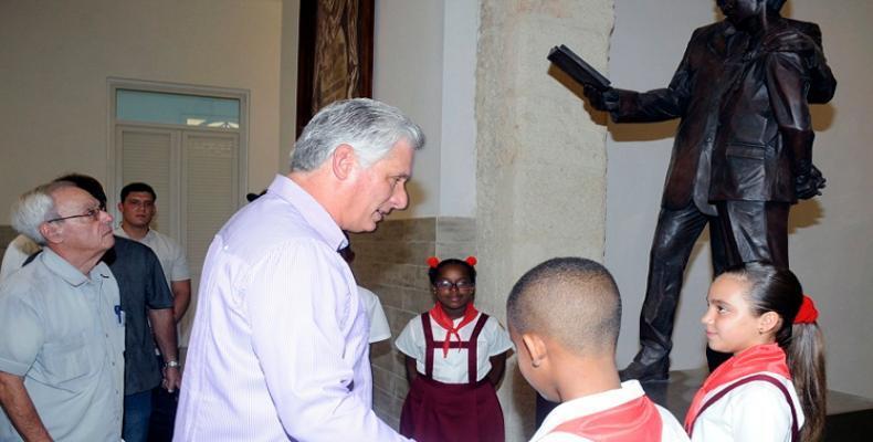 Cuban President Miguel Diaz-Canel at the Rafael María de Mendive Elementary School in Old Havana,