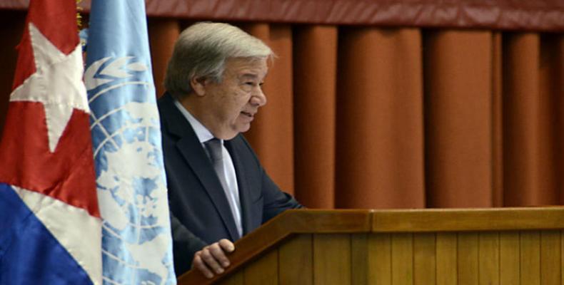 Antonio Guterres, en el Palacio de Convenciones, de La Habana. Foto: Joaquín Hernández Mena
