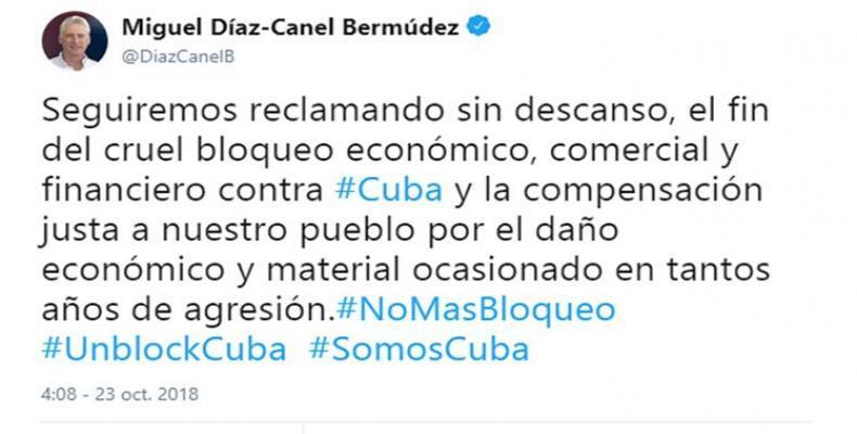 Desde las redes sociales, el dignatario cubano también reclama el fin del genocida cerco estadounidense. Foto: Archivo