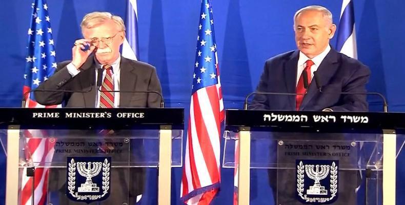 Israeli Prime Minister Benjamin Netanyahu and US National Security Adviser John Bolton meet at Natuanyahu's residence in Jerusalem on January 6, 2019.  Photo: P