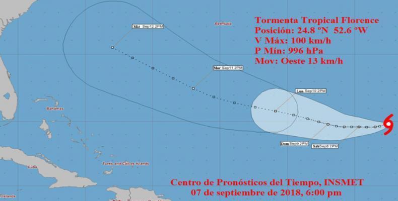 Durante este martes la tormenta tropical Isaac ha mostrado poco cambio en intensidad.Imágen:insmet.