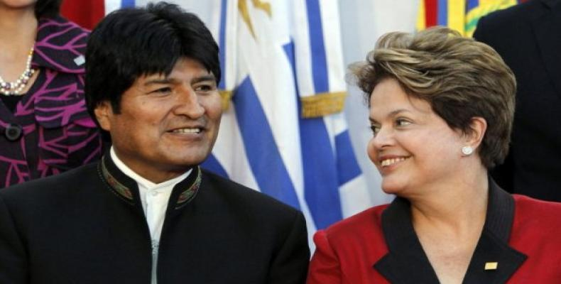 Bolivian and Brasilian presidents, Evo Morales and Dilma Rousseff
