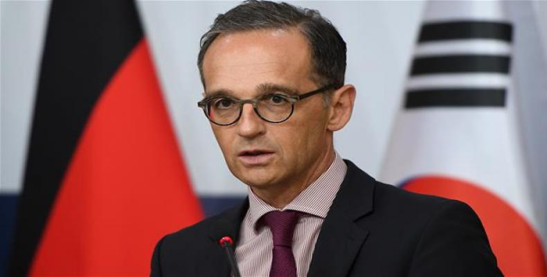 German Foreign Minister Heiko Maas speaks during a joint press conference with South Korean Foreign Minister Kang Kyung-wha in Seoul on July 26, 2018.  Photo: A