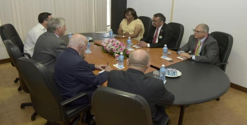 Cuban President Miguel Díaz-Canel receives WHO and PAHO directors  Photo Estudios Revolucion