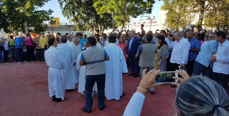 President Diaz-Canel attends ceremony this July 15, 2019, at El Carmen Park celebrating 330 anniversary foundation of Santa Clara. Twitter Photo