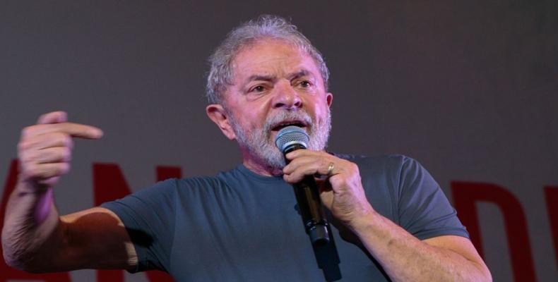 Luiz Inacio Lula da Silva speaks in Sao Paulo on Feb. 22, 2018. Photo/Bloomberg