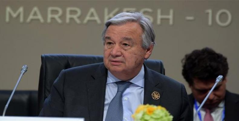 United Nations Secretary General Antonio Guterres attends the United Nations conference on migration on December 10, 2018 in the Moroccan city of Marrakesh.  Ph