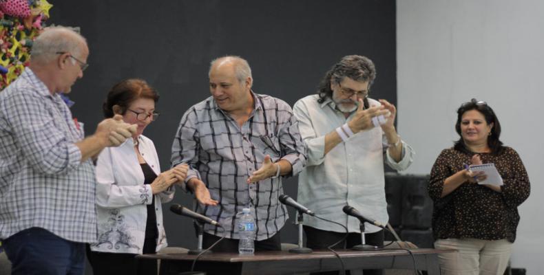 Fernando Rojas, Marcia Leiseca, Alpidio Alonso, Abel Prieto and María Elena Salgado
