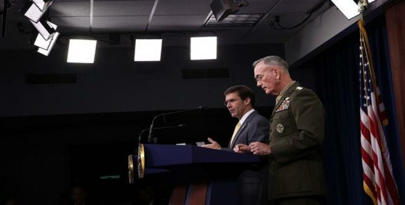 US Secretary of Defense Esper and Chairman of Joint Chiefs of Staff General Dunford. (Photo by AFP)