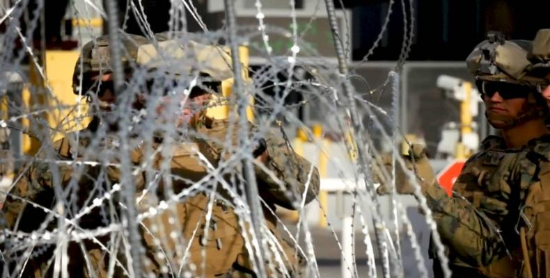 U.S. Defense Department says several thousand troops to U.S.-Mexico border.  Photo: Press TV