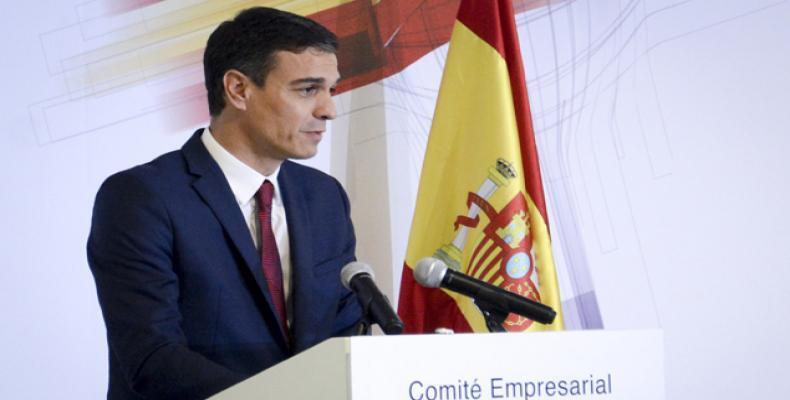 El presidente Pedro Sánchez interviene en el Foro Empresarial Cuba-España realizado el 23 de noviembre en La Habana. Foto: Ariel Ley Royero
