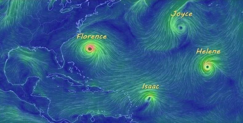 Cuatro ciclones tropicales existieron simultáneamente desde el día 12 hasta la madrugada del 15. Foto/Cubadebate