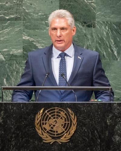 Díaz-Canel por primera vez en el debate de la Asamblea General de la ONU. Foto tomada de Cubaminrex