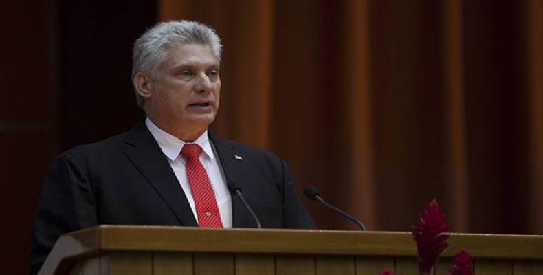 Miguel Díaz-Canel Bermudez delivers his first address as President of Cuba. April 19, 2018.