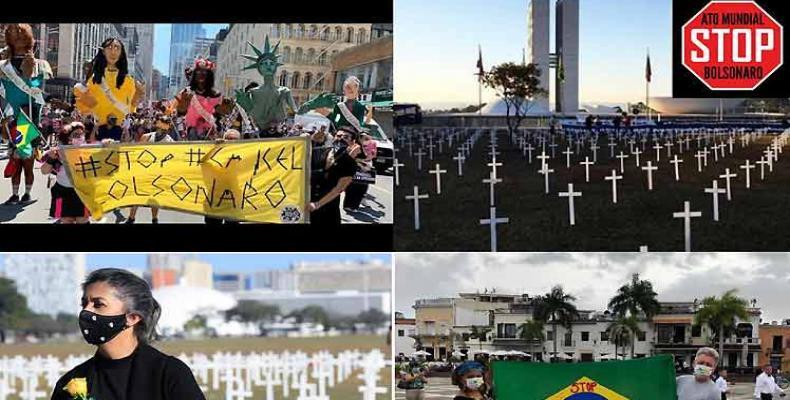 El grito Stop Bolsonaro repicó en redes sociales y calles de una veintena de países. Foto: Prensa Latina.