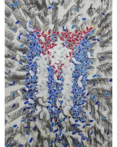 """Foto: Obra """"Identidad"""", de la colección Banderas de Michel Mirabal. (RHC)"""