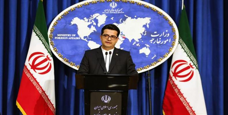 Abbas Mousavi, spokesman for Iran's Foreign Ministry, speaking to reporters in Tehran.  (Photo: Press TV)