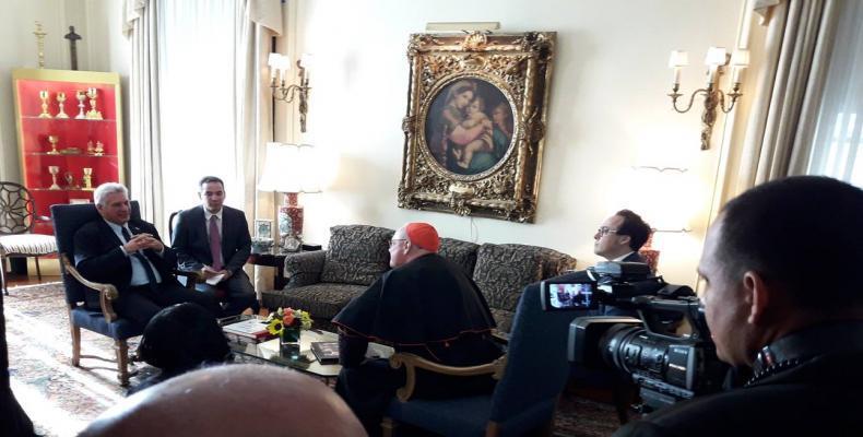 Miguel Díaz-Canel con el el Arzobispo de Nueva York, Timothy Dolan. Foto/ Twitter