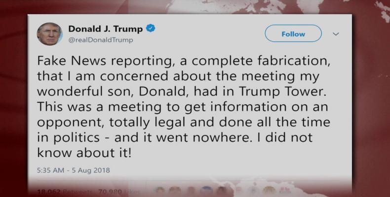 Trump tweet reveals he lied about son's 2016 meeting with Russian lawyer.  Photo: Twitter