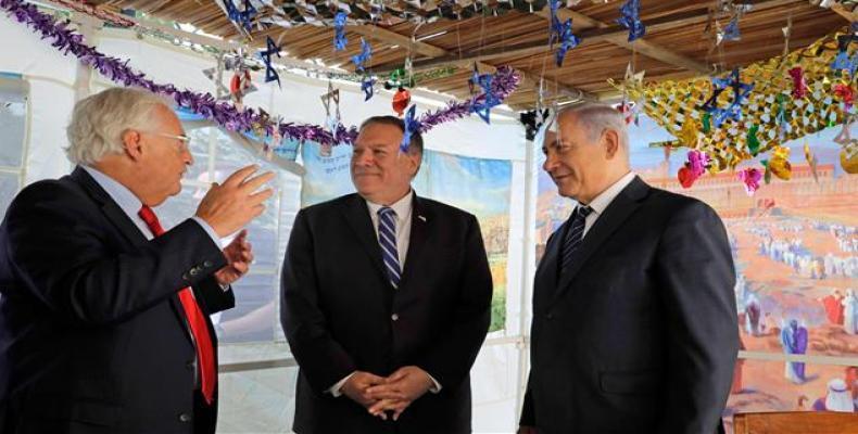 Benjamin Netanyahu and US Ambassador to Israel David Friedman with Mike Pompeo in Jersualem. (Photo: AFP)