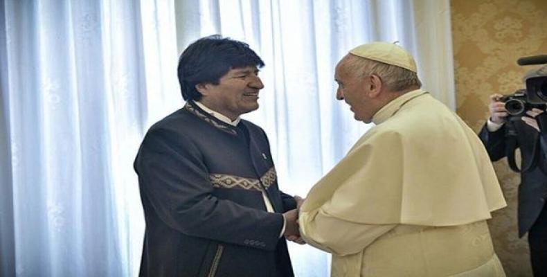 Evo Morales y el papa Francisco en Roma