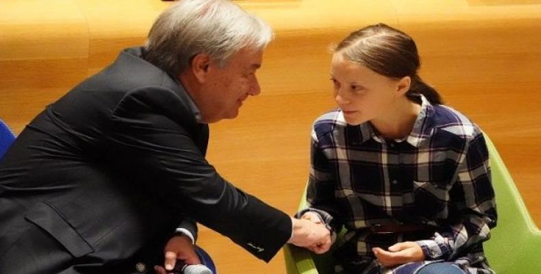 UN Secretary-General Antonio Guterres mets with environmental activist Greta Thunberg. (Photo: Reuters)