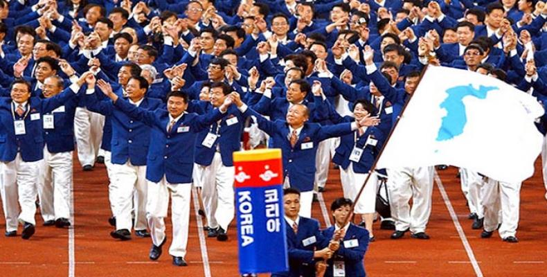 Delegations of the two Koreas marched together at opening ceremony of the 23rd Winter Olympics. Cronica Viva Photo