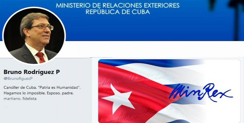 Cuban foreign minister tweets support for Nicaragua.  Photo: Twitter