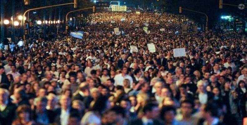 Anterior manifestación obrera contra gobierno de Macri.  Foto Archivo