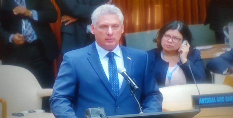 Presidente cubano durante su alocución en la ONU. Foto/ Twitter/ @PrensaLatina_cu
