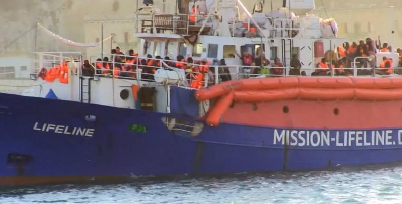 Aid ship docks in Malta.  Photo: AFP