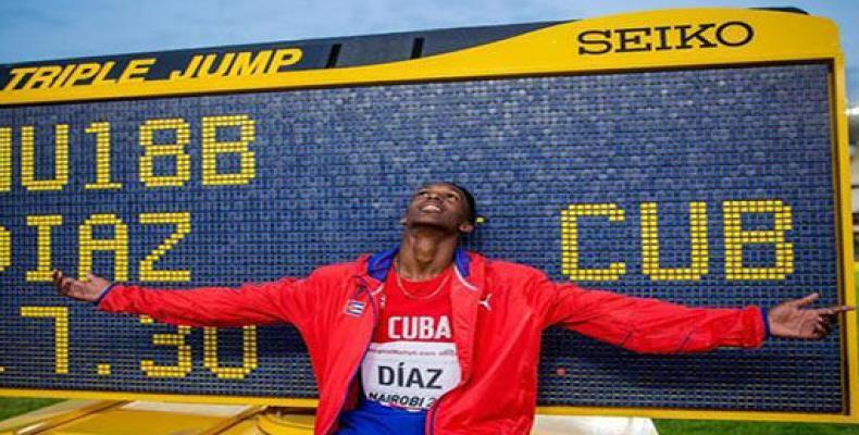 Jordan Díaz cuando mejoró récord de cadetes. Foto: Archivo