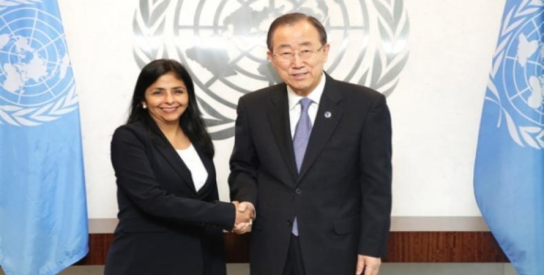 Delcy Rodríguez en anterior reunión con Ban Ki-moon. Foto de Archivo