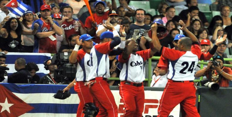 Equio Cuba de béisbol celebrando. Foto: Archivo