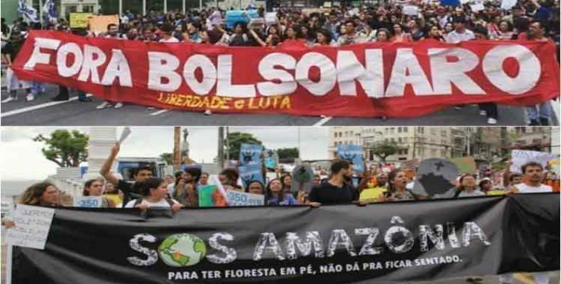 Protestan estudiantes brasileños por la educación y Amazonía. Foto: PL.