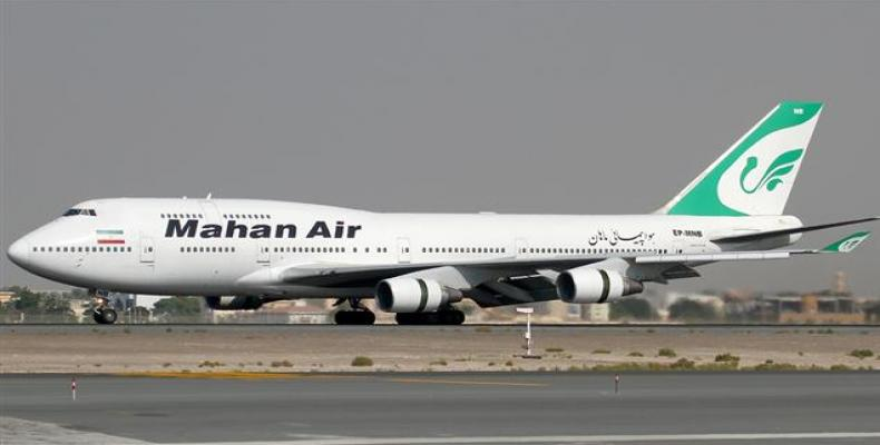 File photo shows a passenger airplane belonging to Iranian Mahan Airline which has been sanctioned by the US.  Photo: File