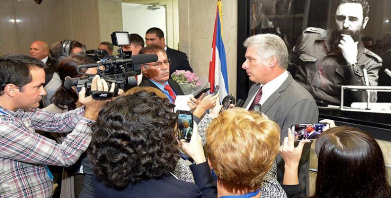 Miguel Díaz Canel ofrece conferencia de prensa en la ONU. Foto/PL
