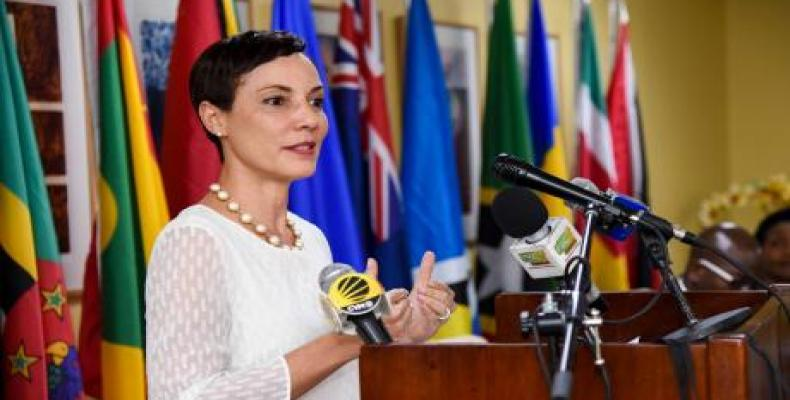 Jamaica's Minister of Foreign Affairs, Kamina Johnson Smith speaks to the press. Photo/The Glener