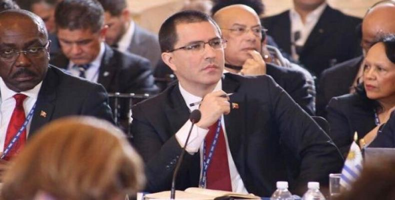Venezuelan Foreign Minister Jorge Arreaza defended Venezuela's right to self-determination on the OAS session in Washington. June 4, 2019  Photo: Twitter  @Canc