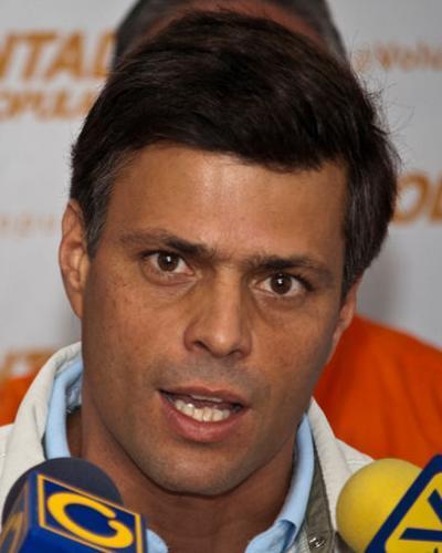 Leopoldo López, principal promotor de las manifestaciones violentas a inicios de 2014, en Venezuela.