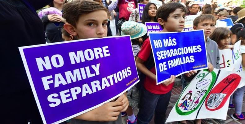 Protesters demonstrate against family separations.  Photo: AP